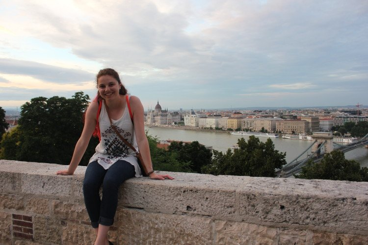 Chilling on the palace wall with an amazing view of Budapest.